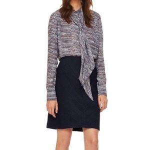 Tory Burch Jacquard navy Pencil Skirt